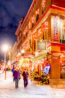 Festive Streets Of Old Quebec Poster by Mark Tisdale