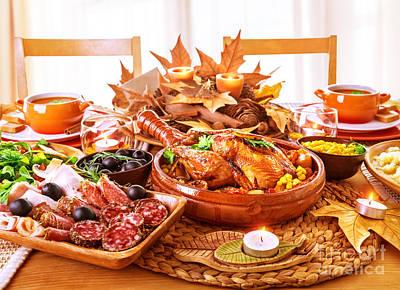 Festive Thanksgiving Day Dinner Poster by Anna Omelchenko