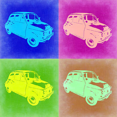 Fiat 500 Pop Art 2 Poster by Naxart Studio
