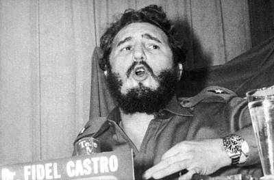 Fidel Castro Speaking Poster by Underwood Archives