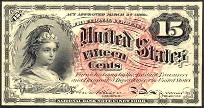 Fifteen Cents 4th Issue U.s. Fractional Currency Poster by Lanjee Chee