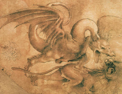 Fight Between A Dragon And A Lion Poster by Leonardo da Vinci