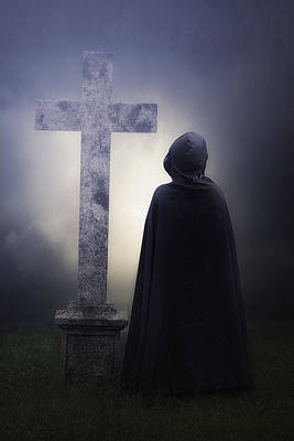 Figure On Graveyard Poster by Joana Kruse