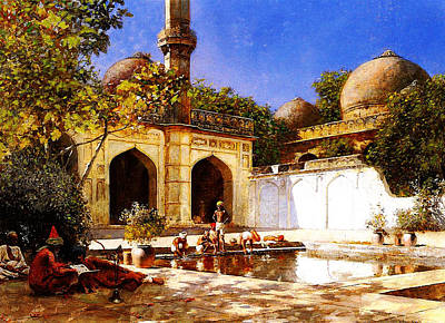 Figures In The Courtyard Of A Mosque Poster by MotionAge Designs
