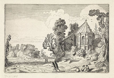 Figures On A Country Road Near A Church Ruin Poster by Artokoloro