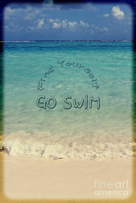 Find Yourself Go Swim Tropical Beach Motivational Quote Poster by Beverly Claire Kaiya