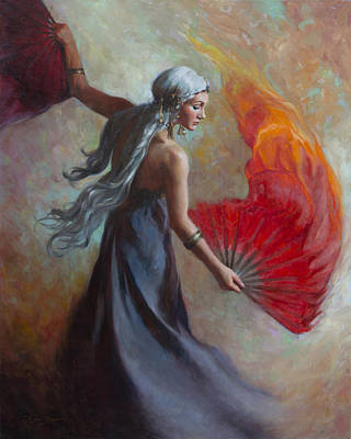 Fire Dance Poster by Anna Rose Bain