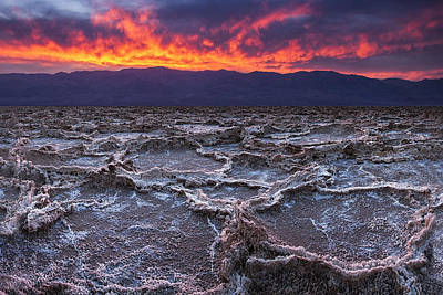 Fire Over Death Valley Poster by Andrew Soundarajan