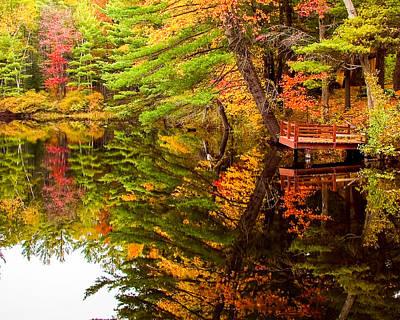 Fire Pond Foliage Reflection Poster by Jeff Folger