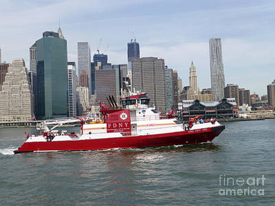 Fireboat Three Forty Three  Fdny With The Nyc Skyline Poster by Steven Spak