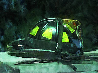 Fireman - Fire Fighter's Helmet Poster by Susan Savad