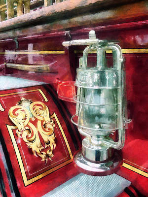 Fireman - Lantern On Old Fire Truck Poster by Susan Savad