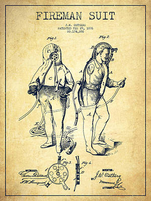 Fireman Suit Patent Drawing From 1826 - Vintage Poster by Aged Pixel