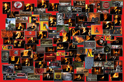 Firemen Series Collage Poster by Thomas Woolworth
