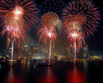 Fireworks Display At Night On Freedom Poster by Panoramic Images
