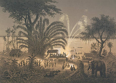 Fireworks On The River At Celebrations Poster by Louis Delaporte