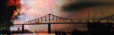 Fireworks Over The Jacques Cartier Poster by Panoramic Images