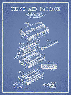 First Aid Package Patent From 1917 - Light Blue Poster by Aged Pixel