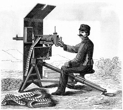 First Model Of Hiram Maxim's Machine Gun Poster by Universal History Archive/uig