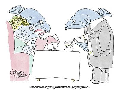 Fish Couple In Restaurant Poster by Gahan Wilson