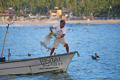 Fisher Man Throwing Net Poster by Camilla Fuchs