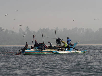 Fisherman Hauling Nets Aboard In Waters Poster by Panoramic Images