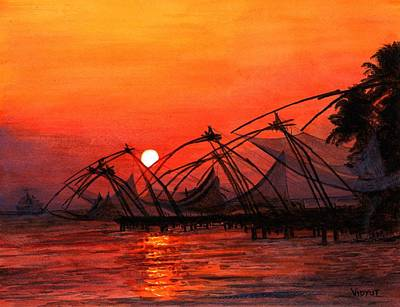 Fisherman Sunset In Kerala-india Poster by Vidyut Singhal