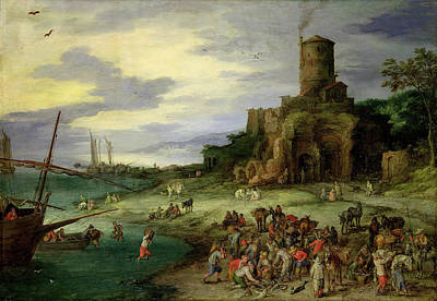 Fishermen On The Shore Oil On Canvas Poster by Jan the Elder Brueghel