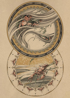 Fishes And Lobster Poster by Jules-Auguste Habert-Dys