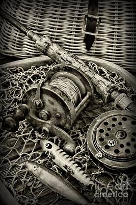 Fishing - All That Gear In Black And White Poster by Paul Ward
