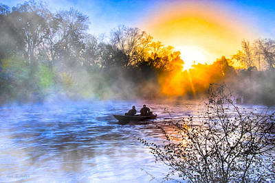Fishing At Sunrise On The Flint River Poster by Mark E Tisdale