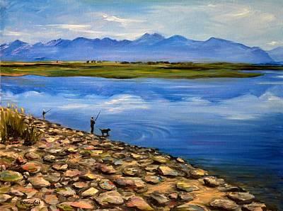 Fishing At The Rockies Poster by Karen Strangfeld