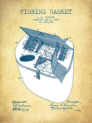 Fishing Basket Patent From 1896 - Vintage Paper Poster by Aged Pixel