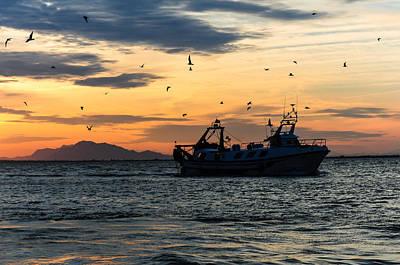 Fishing Boat At Sunset Poster by Tetyana Kokhanets