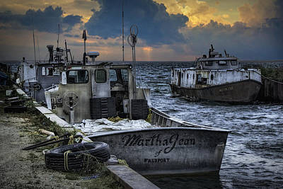 Fishing Boats Moored In The Channel With Rain Storm Moving In Poster by Randall Nyhof