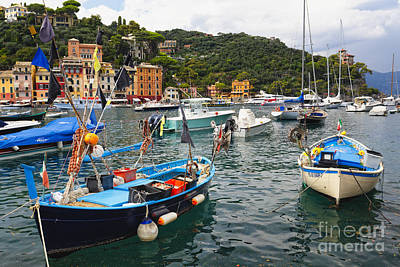 Fishing Boats Of Portofino Poster by George Oze