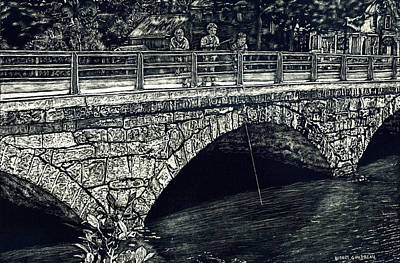 Fishing From The Stone Arched Bridge Poster by Robert Goudreau