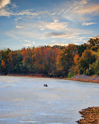 Fishing In Autumn - River Scene Poster by Jai Johnson