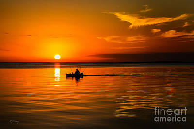 Fishing Late Into The Night II Poster by Rene Triay Photography