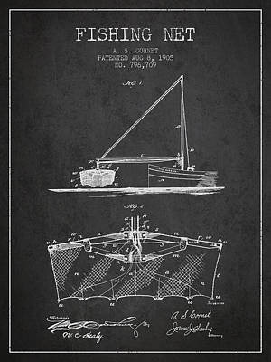 Fishing Net Patent From 1905- Charcoal Poster by Aged Pixel