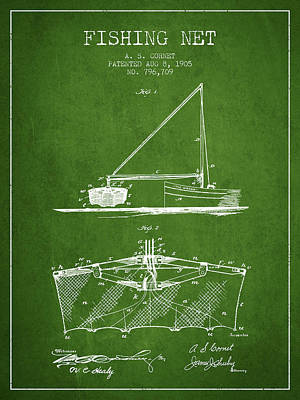Fishing Net Patent From 1905- Green Poster by Aged Pixel
