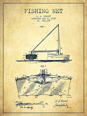 Fishing Net Patent From 1905- Vintage Poster by Aged Pixel