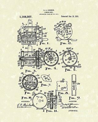 Fishing Reel 1916 Patent Art Poster by Prior Art Design