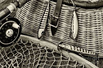 Fishing - Vintage Fishing Lures In Black And White Poster by Paul Ward