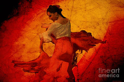 Flamenco Dancer 17 - The Red Dress Poster by Mary Machare