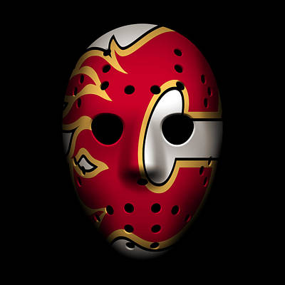 Flames Goalie Mask Poster by Joe Hamilton