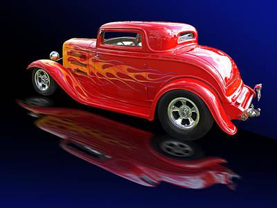 Flaming Roadster Poster by Gill Billington