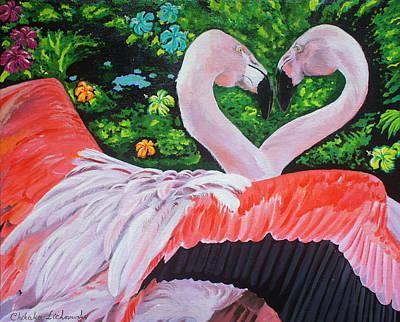 Flamingo Paradise Poster by Chikako Hashimoto Lichnowsky