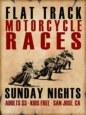 Flat Track Motorcycle Races Poster by Mark Rogan