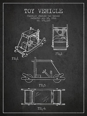 Flintstones Toy Vehicle Patent From 1961 - Charcoal Poster by Aged Pixel